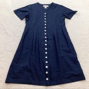 Orvis navy linen button front lagenlook mini dress